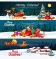 christmas holiday santa gift banners vector image
