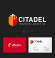 citadel logo insurance agency castle like shield vector image