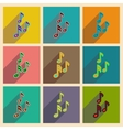 Concept of flat icons with long shadow musical vector image vector image