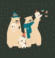 cute cartoon bears family hugging their cubs vector image