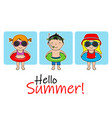 cute children with swimsuit and float vector image vector image