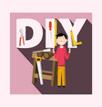 diy - do it yourself concept with worker and vector image vector image