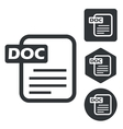 DOC document icon set monochrome vector image vector image