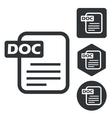 DOC document icon set monochrome