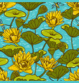 elegant yellow water lilies nymphaea seamless vector image
