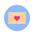 envelope heart shape icon on blue round background vector image vector image