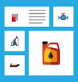 flat icon fuel set of rig petrol boat and other vector image
