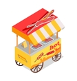 Fried Sausages Cart Store Isometric Icon vector image