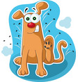 funny dog scratching fleas cartoon vector image vector image