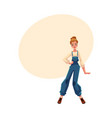 girl in 1990s style denim jumpsuit at retro disco vector image vector image