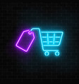 glowing neon supermarket shopping cart with tag vector image vector image