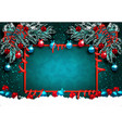 greeting card with decorations on the green vector image vector image