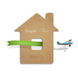 House cut out of cardboard with airplane vector image vector image