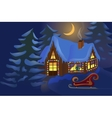 House decorated for Christmas vector image