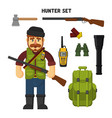 hunting a set of hunter items flat vector image