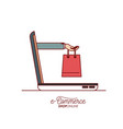 laptop with hand holding a bag shopping side view vector image vector image