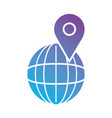 line global planet with location symbol vector image vector image