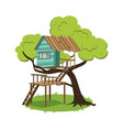 modern hut on branches of tree poster vector image