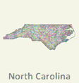 North Carolina line art map vector image vector image