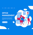 office management concept landing web page vector image vector image