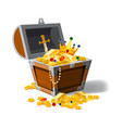 old pirate chest full of treasures gold coins vector image vector image