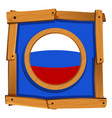russia flag on round button vector image