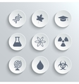 Science icons set - white round buttons vector image vector image