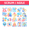 scrum agile collection elements icons set vector image