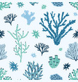 seamless pattern with blue and green corals vector image vector image