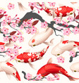 seamless pattern with koi fish and sakura vector image vector image