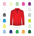 set of long collared t-shirt vector image vector image