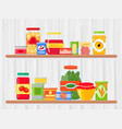 shelf in grocery store with vector image