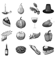 Thanksgiving icons set gray monochrome style vector image vector image