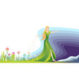 the girl sowing the seeds for flowers and grass vector image vector image