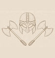 viking helmet with axes hand drawn sketch on vector image