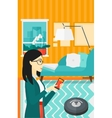 Woman with robot vacuum cleaner vector image vector image