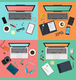workplace concept set modern gatgets top view vector image vector image