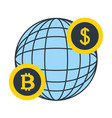 world dollar bitcoin money fintech vector image