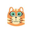 cute red cat head with green eyes funny cartoon vector image