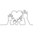 abstract family hands holding hearts one line vector image vector image