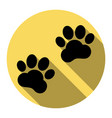 animal tracks sign flat black icon with vector image vector image