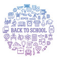 back to school circle icon set vector image