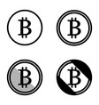 bitcoin symbols icons logos black and white set vector image vector image