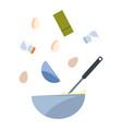 bowl eggs salt utensil preparation cooking vector image vector image