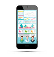 business app on phone infographic data on vector image vector image