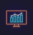 business graph neon sign pc monitor with graphic vector image vector image