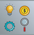 business success set icons vector image