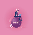 businessman with a big debt weight vector image