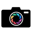 Camera icon with colorful lens vector image vector image