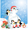 Card with funny penguins and polar bear with prese vector image vector image